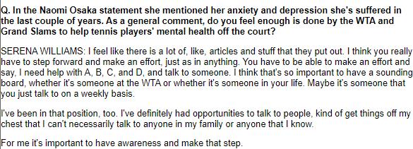 2018年の全米オープンで元世界ランク1位のセリーナ・ウィリアムズは大坂なおみ選手について述べたこと